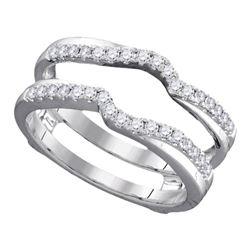 Womens Round Diamond Ring Guard Wrap Ring Guard Enhancer 1/3 Cttw 14kt White Gold - REF-46R5X