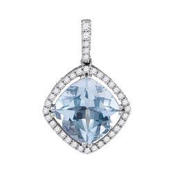 Womens Cushion Aquamarine Diamond Solitaire Pendant 2-1/5 Cttw 14kt White Gold - REF-71Y9N