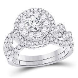 Round Diamond Bridal Wedding Ring Band Set 2 Cttw 14kt White Gold - REF-230N5F
