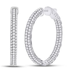 Womens Round Diamond In Out Hoop Earrings 5 Cttw 14kt White Gold - REF-313F9W