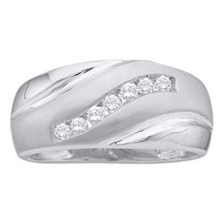 Mens Round Diamond Band Ring 1/4 Cttw 14kt White Gold - REF-31X9A