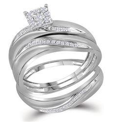 His Hers Round Diamond Cluster Matching Wedding Set 1/5 Cttw 10kt White Gold - REF-34Y5N