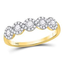 Womens Round Diamond 5-stone Ring 1/2 Cttw 14kt Yellow Gold - REF-40X9A