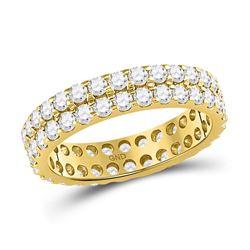 Womens Round Diamond Double Row Eternity Wedding Band 2 Cttw 14kt Yellow Gold - REF-142F5W