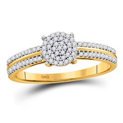 Womens Round Diamond Circle Cluster Ring 1/6 Cttw 10kt Yellow Gold - REF-14R9X