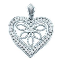 Womens Round Diamond Vintage-style Heart Outline Pendant 1/10 Cttw 10kt White Gold - REF-10Y5N