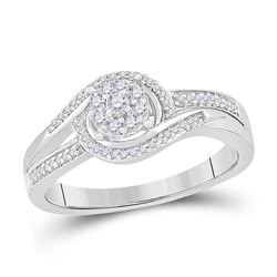 Womens Round Diamond Solitaire Promise Ring 1/5 Cttw 10kt White Gold - REF-21N5F