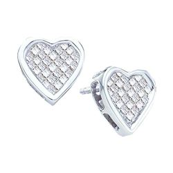 Womens Princess Diamond Cluster Heart Stud Earrings 1/2 Cttw 14kt White Gold - REF-38A9M