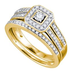 Round Diamond Square Halo Bridal Wedding Ring Band Set 1/2 Cttw 14kt Yellow Gold - REF-55R9X