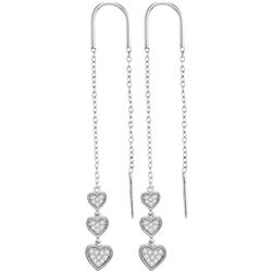 Womens Round Diamond Triple Dangling Heart Threader Earrings 1/5 Cttw 10kt White Gold - REF-19A5M