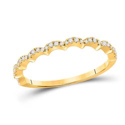 Womens Round Diamond Scalloped Stackable Band Ring 1/8 Cttw 10kt Yellow Gold - REF-13W9K