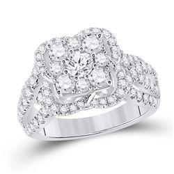 Round Diamond Halo Bridal Wedding Engagement Ring 1-7/8 Cttw 14kt White Gold - REF-155A5M