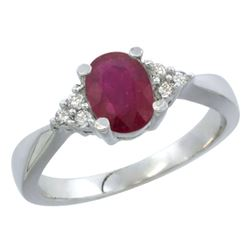 1.44 CTW Ruby & Diamond Ring 14K White Gold - REF-37M9A