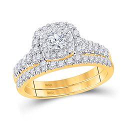 Round Diamond Bridal Wedding Ring Band Set 1 Cttw 10kt Yellow Gold - REF-68M5H