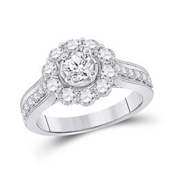 Round Diamond Solitaire Bridal Wedding Engagement Ring 1-5/8 Cttw 14kt White Gold - REF-186H5R