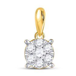 Womens Round Diamond Flower Cluster Pendant 1/4 Cttw 14kt Yellow Gold - REF-16N9F