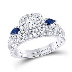 Princess Diamond Bridal Wedding Ring Band Set 7/8 Cttw 14kt White Gold - REF-98M5H