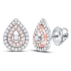 Womens Round Diamond Teardrop Earrings 1/3 Cttw 10kt Two-tone Gold - REF-26Y9N