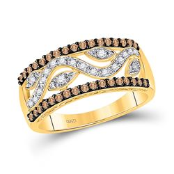 Womens Round Brown Diamond Band Ring 1/2 Cttw 10kt Yellow Gold - REF-25W9K