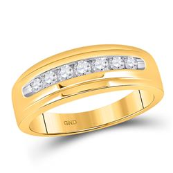 Mens Round Diamond Wedding Single Row Band Ring 1/2 Cttw 14kt Yellow Gold - REF-43X5A