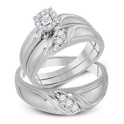 His Hers Round Diamond Cluster Matching Wedding Set 1/4 Cttw 10kt White Gold - REF-41M9H