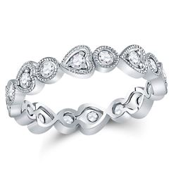 Womens Round Diamond Heart Eternity Band Ring 3/8 Cttw 10kt White Gold - REF-32M5H