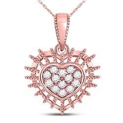 Womens Round Diamond Heart Pendant 1/8 Cttw 10kt Rose Gold - REF-14R9X