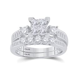 Princess Diamond Bridal Wedding Ring Band Set 1-1/2 Cttw 14kt White Gold - REF-129H9R