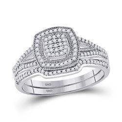 Round Diamond Bridal Wedding Ring Band Set 1/3 Cttw 10kt White Gold - REF-27R9X