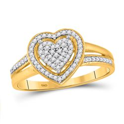 Womens Round Diamond Heart Ring 1/5 Cttw 10kt Yellow Gold - REF-17X5A