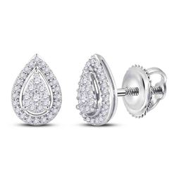 Womens Round Diamond Teardrop Earrings 1/2 Cttw 14kt White Gold - REF-38K9Y