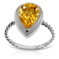 Genuine 2.5 ctw Citrine Ring 14KT White Gold - REF-40Z7N