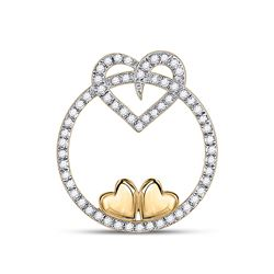 Womens Round Diamond Circle Heart Pendant 1/5 Cttw 10kt Yellow Gold - REF-10N5F