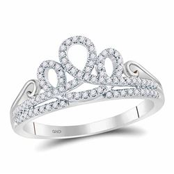 Womens Round Diamond Crown Tiara Fashion Ring 1/5 Cttw 10kt White Gold - REF-20H9R