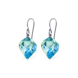 Genuine 27.8 ctw Blue Topaz Earrings 14KT White Gold - REF-67K5V