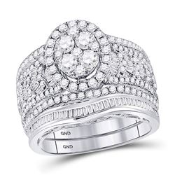 Round Diamond Oval Bridal Wedding Ring Band Set 2 Cttw 14kt White Gold - REF-153Y5N