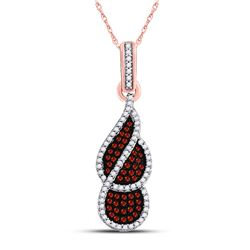 Womens Round Red Color Enhanced Diamond Fashion Pendant 1/3 Cttw 10kt Rose Gold - REF-21N5F