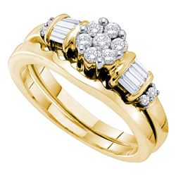 Round Diamond Cluster Bridal Wedding Ring Band Set 1/2 Cttw 14kt Yellow Gold - REF-49H5R
