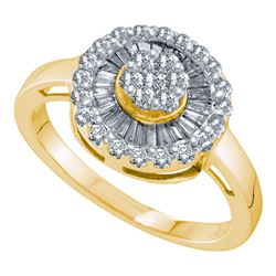 Womens Round Diamond Flower Cluster Ring 3/4 Cttw 14kt Yellow Gold - REF-43R5X