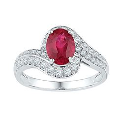 Womens Oval Lab-Created Ruby Solitaire Ring 2 Cttw 10kt White Gold - REF-30N5F