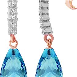 Genuine 4.65 ctw Blue Topaz & Diamond Earrings 14KT Rose Gold - REF-36W2Y