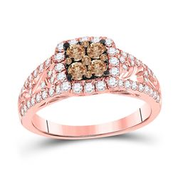 Womens Round Brown Diamond Square Cluster Ring 1 Cttw 10kt Rose Gold - REF-54M5H