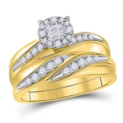 His Hers Princess Diamond Cluster Matching Wedding Set 5/8 Cttw 14kt Yellow Gold - REF-85X9A