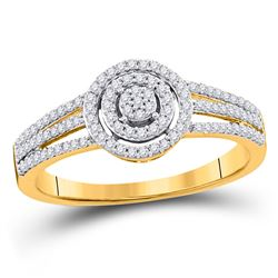 Round Diamond Cluster Bridal Wedding Engagement Ring 1/5 Cttw 10kt Yellow Gold - REF-13K9Y