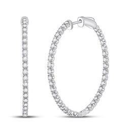 Womens Round Diamond Inside-Outside Hoop Earrings 1-5/8 Cttw 14kt White Gold - REF-109N5F