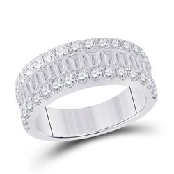 Womens Baguette Diamond Anniversary Ring 2 Cttw 14kt White Gold - REF-131K5Y