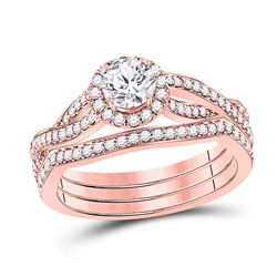 Round Diamond Bridal Wedding Ring Band Set 1 Cttw 14kt Rose Gold - REF-173M9H