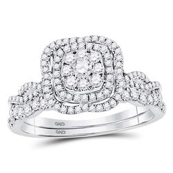 Round Diamond Bridal Wedding Ring Band Set 5/8 Cttw 14kt White Gold - REF-60M9H
