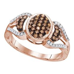Womens Round Brown Diamond Oval Cluster Ring 1/3 Cttw 10kt Rose Gold - REF-18H9R