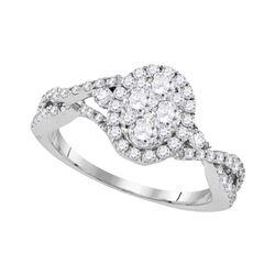 Round Diamond Cluster Bridal Wedding Engagement Ring 1 Cttw 10kt White Gold - REF-95R9X